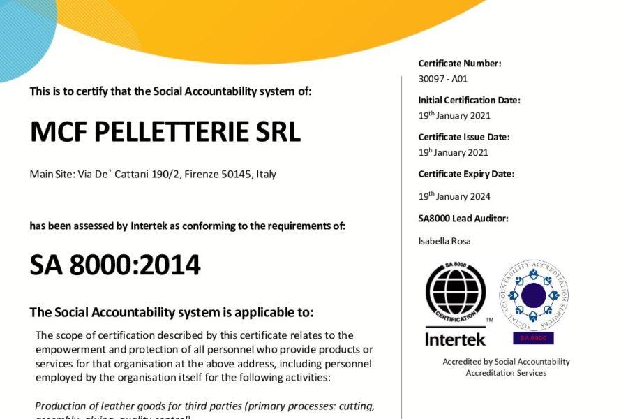 Certificazione SA8000:2014